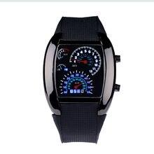 MJARTORIA Mode Racing Car Dashboard Design Carré En Forme de LED Montre-Bracelet avec Faux Bracelet En Cuir sport hommes montres