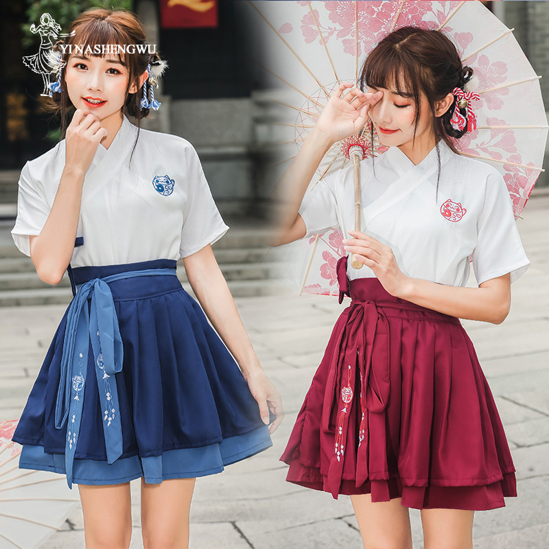 Hanfu Costume Dress Women Improved Hanfu Daily Short Sleeve Hanfu Embroidered Crossdresses Costumes Han Elements Student Set