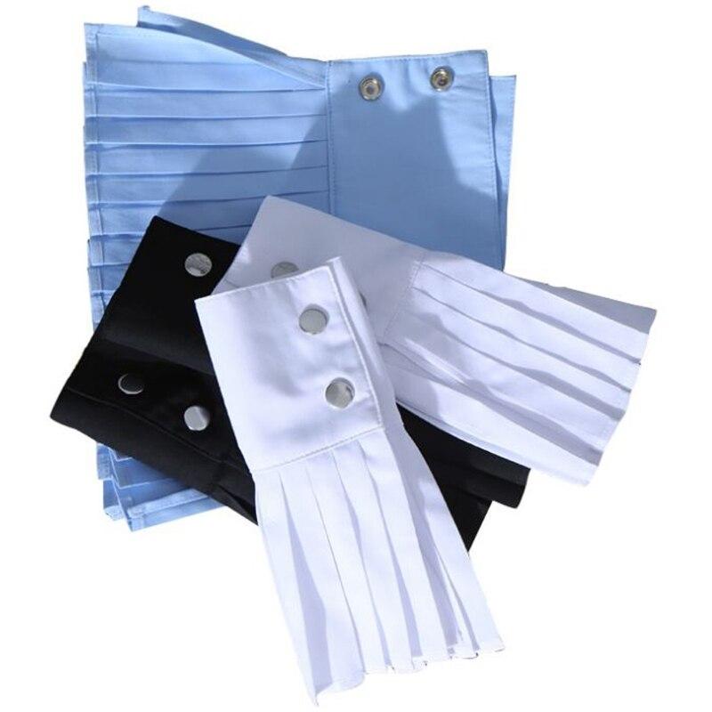 KLV 1 Pair Detachable Shirt Pleated Horn Flare Sleeve Cuffs Over Sleeve Wristband