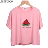 JKKUCOCO 2017 fashion Shirt Women Watermelon Appliques Embroidery Letters high quality cotton t shirt Women loose tops tees