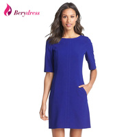 Berydress Elegantc Chic Women Short Sleeve Shift Dress 2016 Hot Selling Pockets Casual Wear To Work