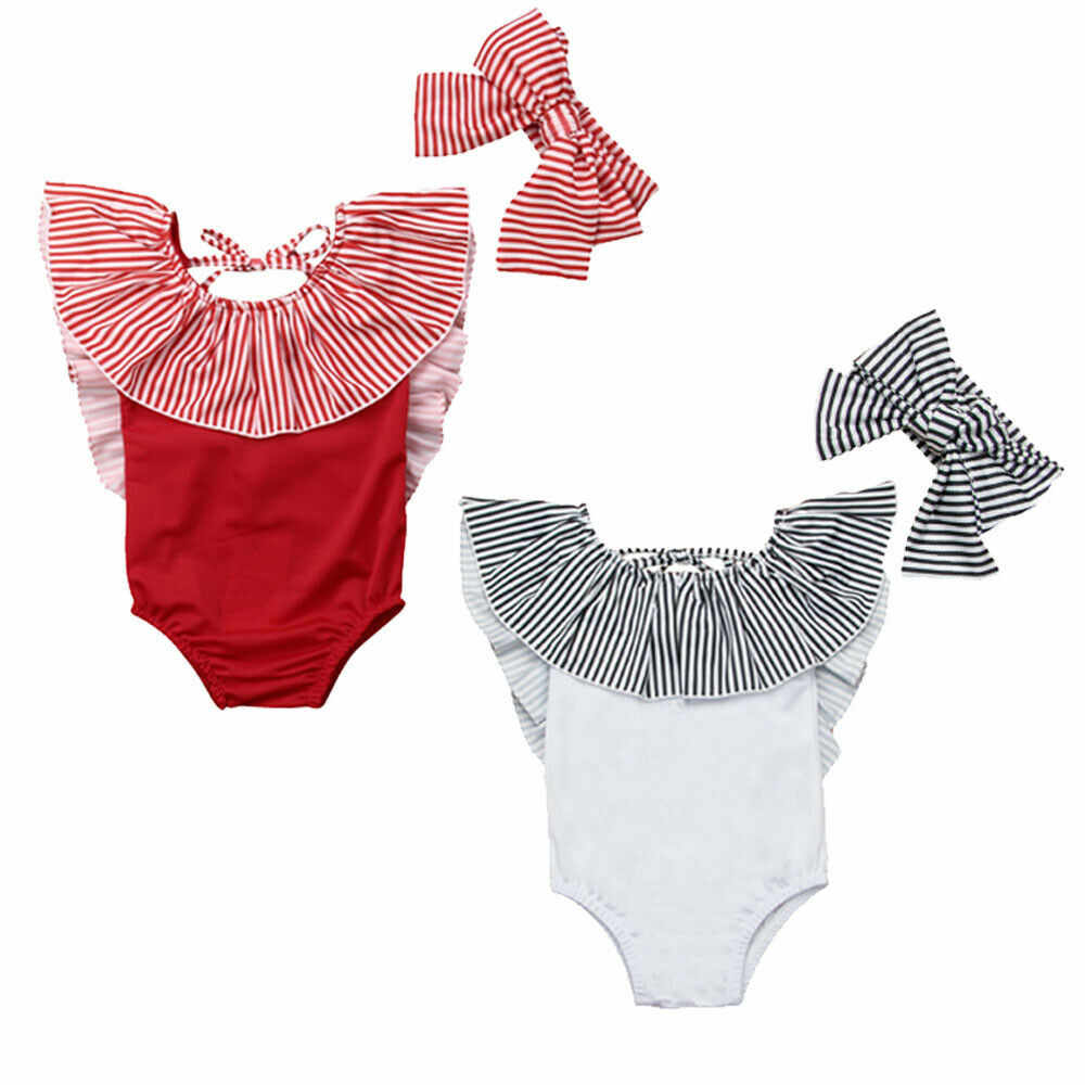 Princess Summer Baby Girls Swimsuit Cute Ruffle Stripe Toddler Kids Children Swimwear Bathing Suit+Bow Headbands 2pcs  Beachwear