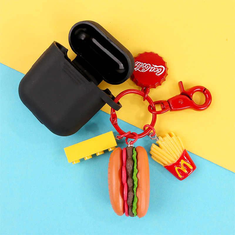 Mini Bonito Resina Simulação Food Titular Hambúrguer Chaveiro Sacos Anel Chave Do Carro Chaveiro Chaveiros Acessórios Pequenos Presentes Pingente de Jóias