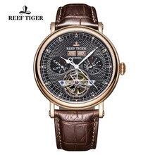 Риф Тигр/RT люксовый бренд Мужские часы сапфировое стекло автоматические часы коричневый кожаный ремешок функциональные турбийон часы RGA1903