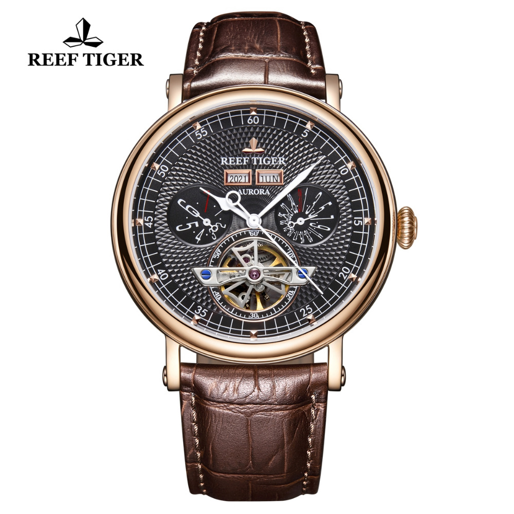 Reef Tiger/RT Luxury Brand Mens Watches Sapphire Glass Automatic Watches Brown Leather Strap Functional Tourbillon Watch RGA1903Reef Tiger/RT Luxury Brand Mens Watches Sapphire Glass Automatic Watches Brown Leather Strap Functional Tourbillon Watch RGA1903