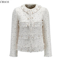 LXUNYI 2018 Spring Autumn OL Formal Slim White Tweed Jacket Women Long Sleeve Woolen Tweed Ladies