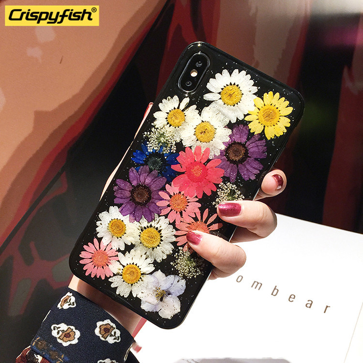 Crispyfish Real Flowers Dried Transparent Soft TPU Silicone Case For iPhone 7 8 Plus Black Case For 6 6s X XR XS MAX Cover