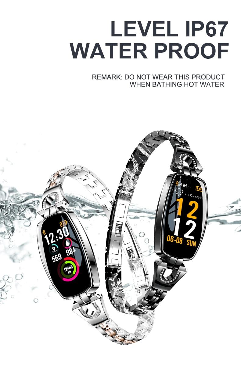 IP67 H8 Women Fashion Smart Wristband Heart Rate Blood Pressure Smart Bracelet Fitness Tracker Smart Watch Women Reloj Mujer 15