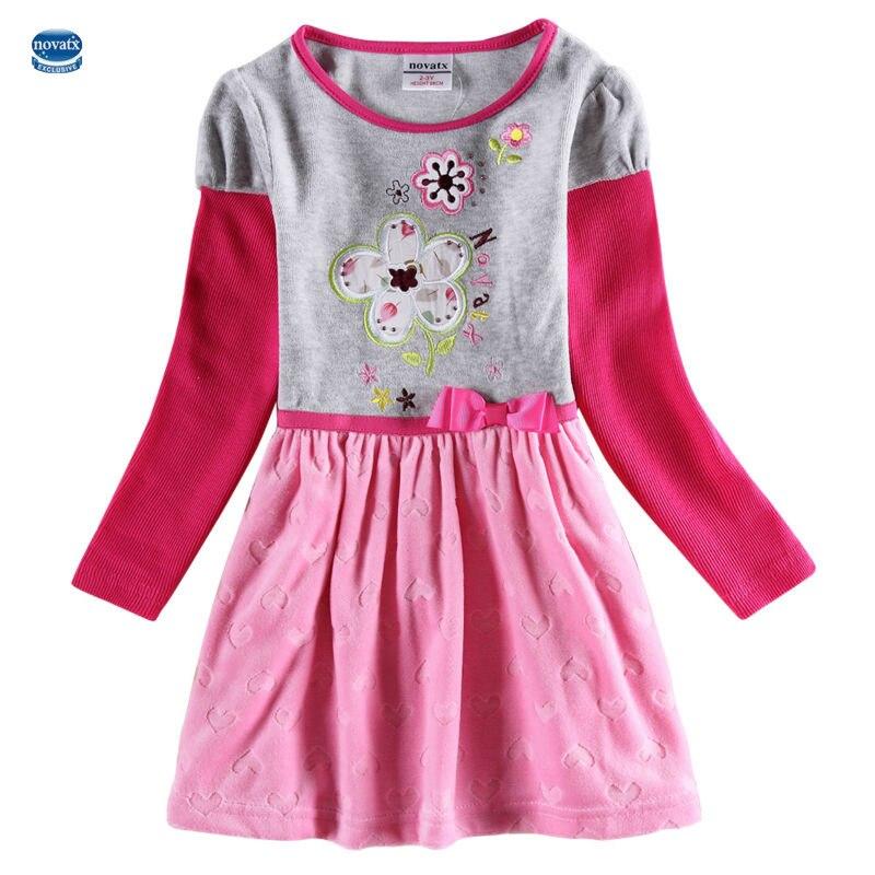 novatx Autumn flower kids dresses for girls dress long sleeve dress kids girls clothes All children