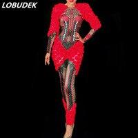 Блестящие стразы печать красный цветочный комбинезон Для женщин ночной клуб Костюмы для вечеринки, дня рождения этап одежда бар модели кос