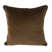 Solid Chocolate Dull Velvet Cushion Cover Rope Pipping Decorative Square Pillow Case 45 x 45 cm Sell by piece