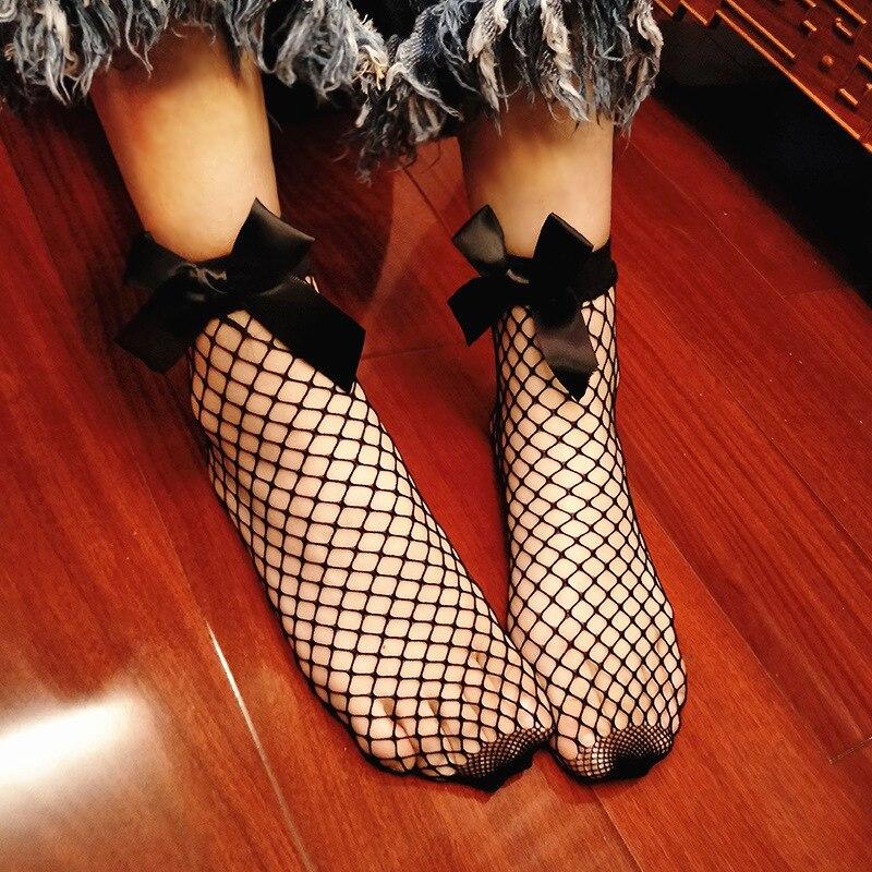 New Harajuku Women Solid Black Bow Fishnet Socks Fashion Cool Lattice Sexy Hollow Out Nets Socks Grid Mesh Short Socks SF280