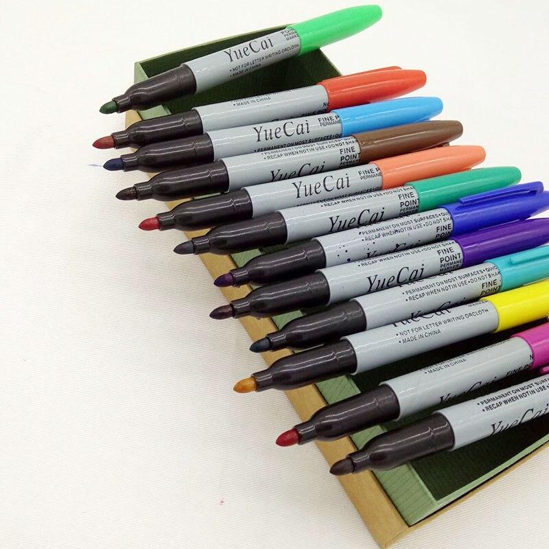 12 Pcs Set Yue Cai Oil Marker Pens Colored Markers Art Pen Permanent Colour Marker Pen Office Stationery