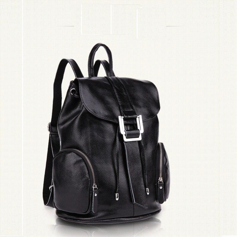 купить Caker Women Large Big Drawstring Genuine Leather Backpack Preppy Style Blue 3D Pocket Backpacks School Travel Bag недорого