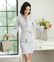 New 2019 Fashion Grey Blazer Women Business suits Dress and and Jacket Sets Ladies Office Uniform Designs OL Style