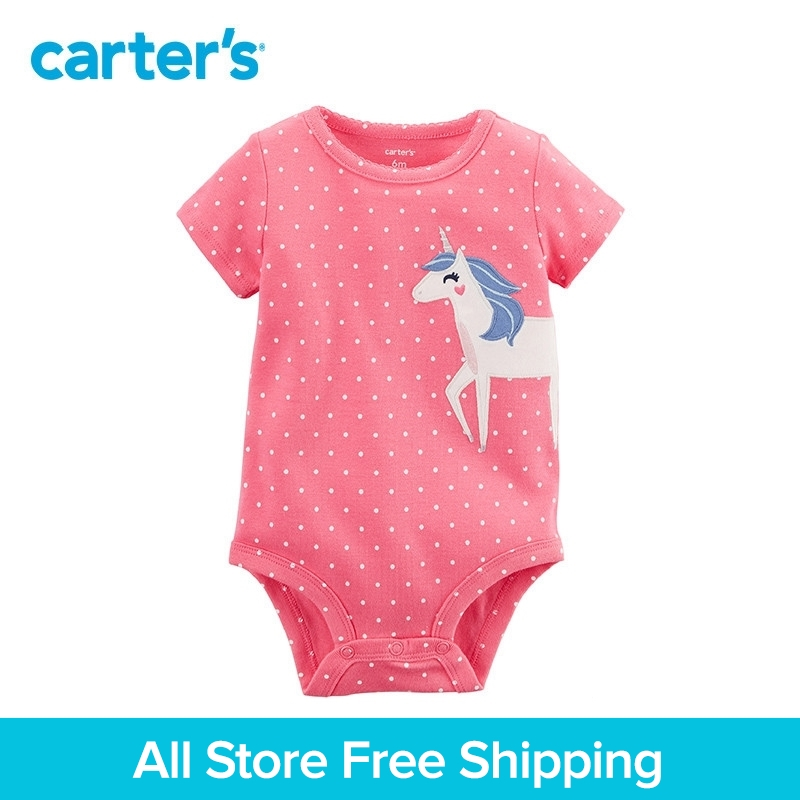 Carters 1-piece baby children kids clothing Girl Summer Short-Sleeve unicorn Collectible Bodysuit 118I259