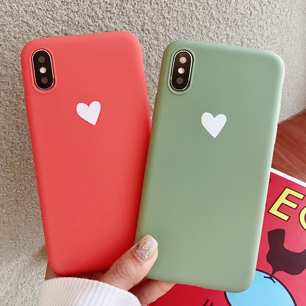 KIPX1073_3_JONSNOW Matte Phone Case For iPhone XR XS Max 6 6S 7 8 Plus 6Plus Candy Color Simple Heart Design Soft TPU Cases Back Cover
