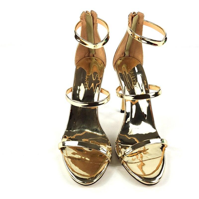 De 35 Soirée Ouvert Extrêmes Chaussures Hauts Grande Enmayer Rome Or Protection Luxe Pompes Taille Gold Rond Bout 46 Talons D'orteil Élégant fCEwxE