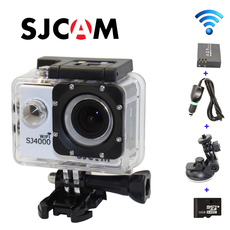 все цены на  Free shipping!!16GB+Original SJCAM SJ4000 WiFi Sport Helmet Dash Camera DVR+Extra 1pcs battery+Car Charger+Holder  онлайн