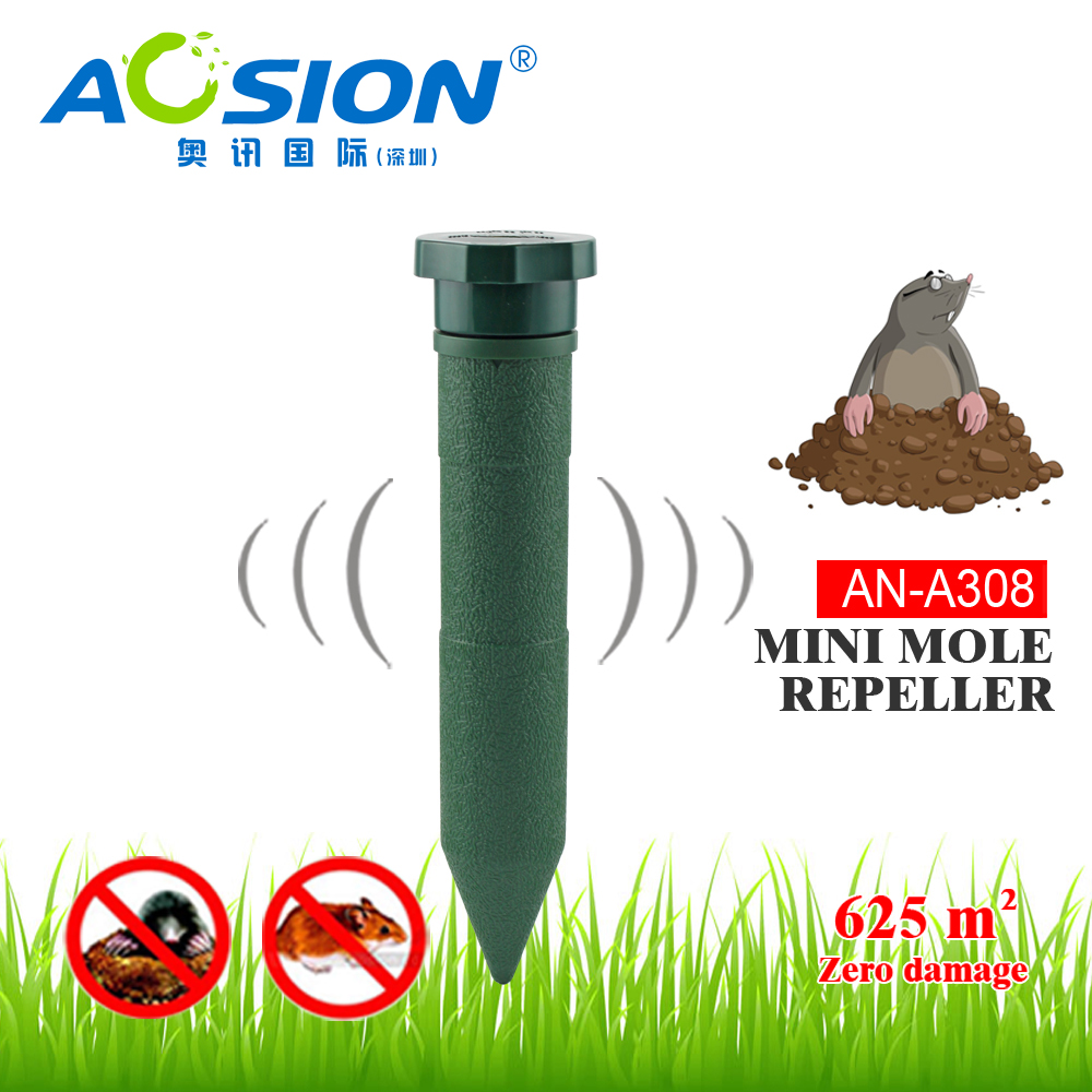 2pcs x Aosion Garden Battery plastic rodent mole vole gopher repeller sound and vibration to repel Mole Pest control