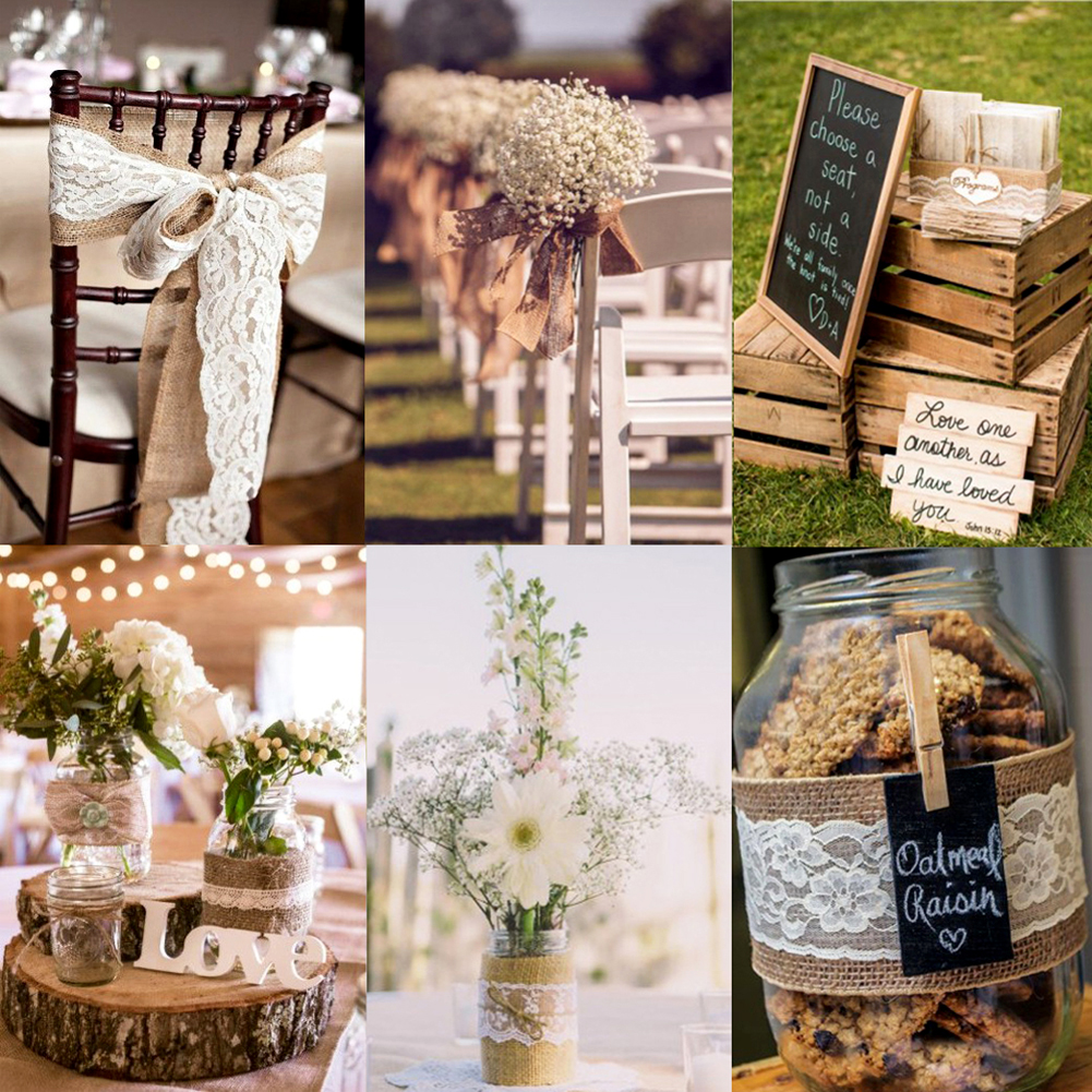 2meterpcs width 5cm jute burlap rolls hessian ribbon with lace 2m natura jute burlap hessian ribbon with lace trims tape roll vintage rustic wedding decoration mariage junglespirit Image collections