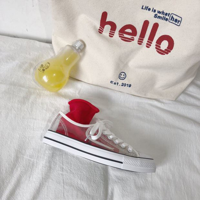 SWYIVY Woman Vulcanize Shoes Sneakers Hot Sale Transparent 2018 New Female  Casual Canvas Shoes PVC Crystal Sneakers Fashion 418d3d38a841