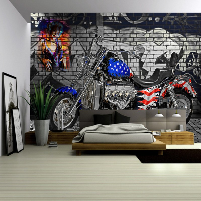 Photo wallpaper American flag motorcycle retro brick wall background mural bar KTV corridor restaurant wallpaper custom photo wallpaper 3d retro wheel imitation brick wall wallpaper mural bar restaurant lounge hotel wallpaper