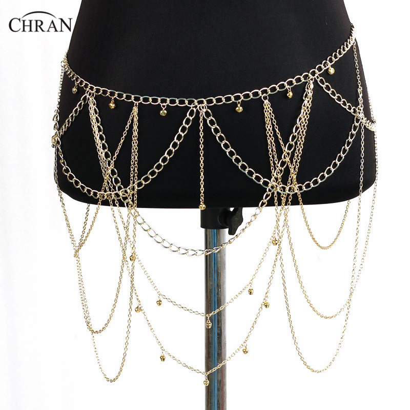 Chran Dangle Multilayer Tassel Women Body Jewelry Hot Sexy Bikini Cross Body Link Leaf Necklace Belly Waist Slave Chain BCJ202 golden cross beach cross body jewelry