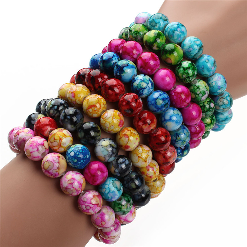 Exweup Trendy Handmade Resin Bead Stretch Beaded Bracelets 9 Colors 8MM Bead Bracelets & Bangles For Women Jewelry