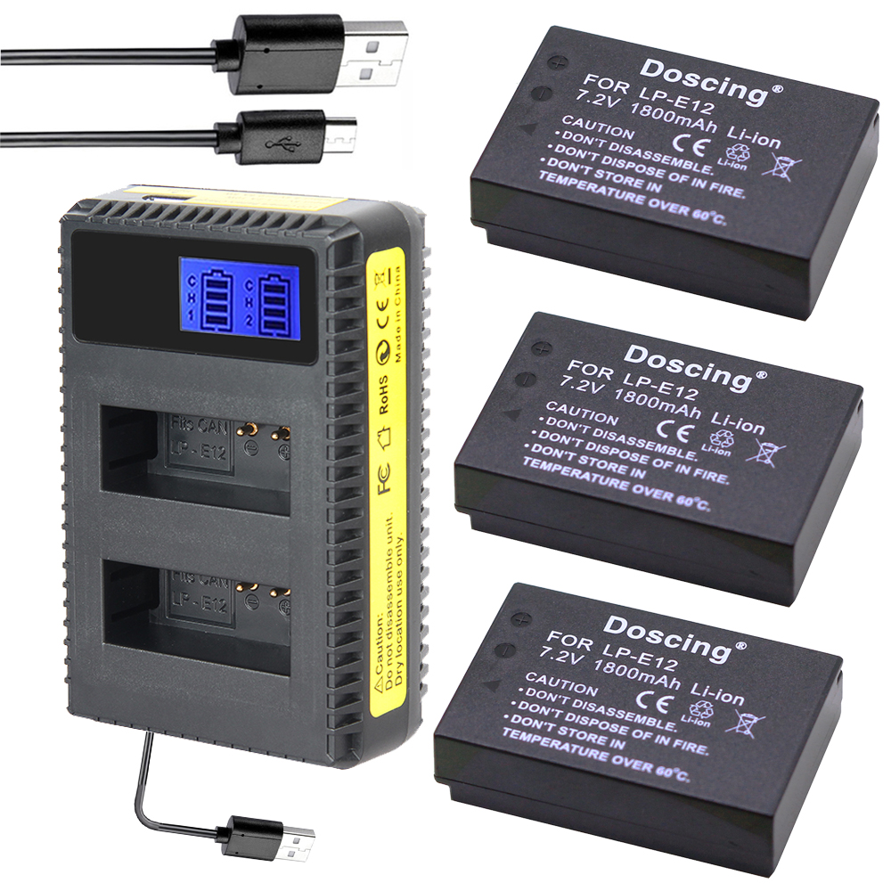 3Pcs <font><b>LP</b></font>-<font><b>E12</b></font> <font><b>LP</b></font> <font><b>E12</b></font> <font><b>Battery</b></font> + USB LCD screen Charger for Canon Camera EOS-M 100D Rebel SL1 Kiss X7 EOS M M2 100D M10 EOSM EOSM2 image