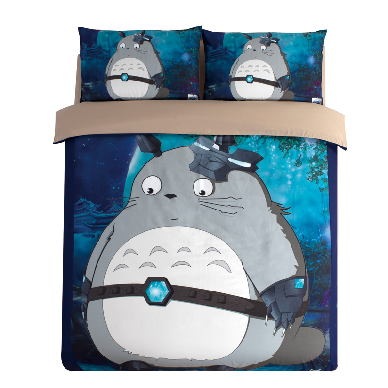 Grey Totoro 3/4 Pieces 3D Bedding Sets Bed Flat Sheet Duvet Cover twin Queen king Size cartoon children bedclothes Home textileGrey Totoro 3/4 Pieces 3D Bedding Sets Bed Flat Sheet Duvet Cover twin Queen king Size cartoon children bedclothes Home textile