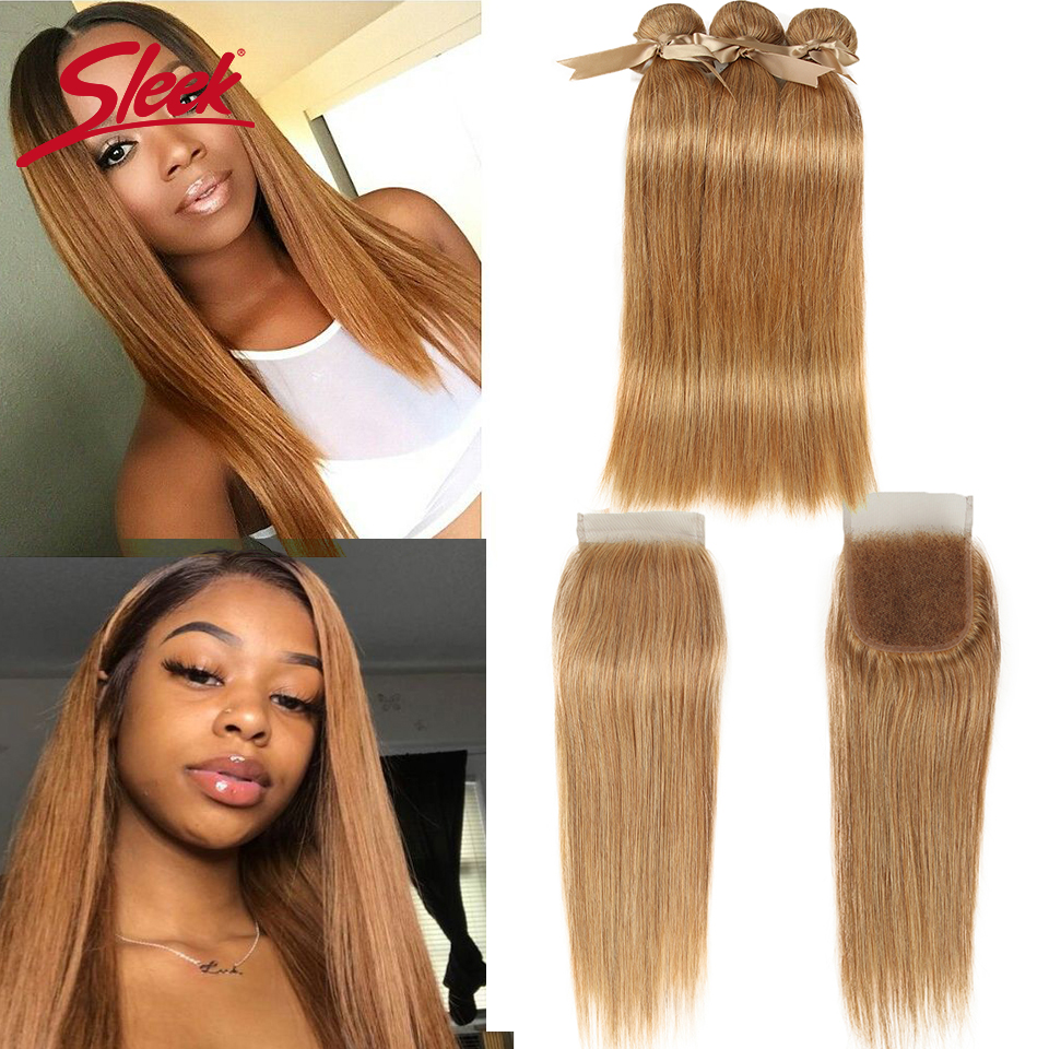 Sleek Hair 27/30 Mixed Color Bundles With Closure Straight Bundles Brazilian Hair Weave Bundles Hair Extension Remy Human Hair