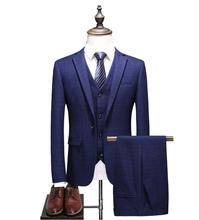 2018 Men Suits for Wedding Best man Casual Plaid Male Suit Mens Business Party Men(Jacket+Vest+Pants)costume homme