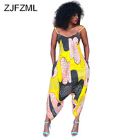 Geometric Pattern Casual Loose Jumpsuit Women Spaghetti Strap Backless Plus Size Romper Summer Deep V Sleeveless Harem Overall