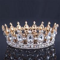 Barroco de la vendimia de la Reina Rey de La Novia Tiara Corona Para Las Mujeres Accesorios de La Joyería Del Pelo Tocado de Baile de Boda Nupcial Tiaras y Coronas
