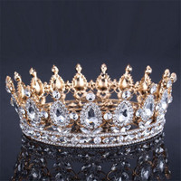 2017Luxury Vintage Gold Wedding Crown Alloy Bridal Tiara Baroque Queen Women Silver Plated Rhinestone Quinceanera Pageant