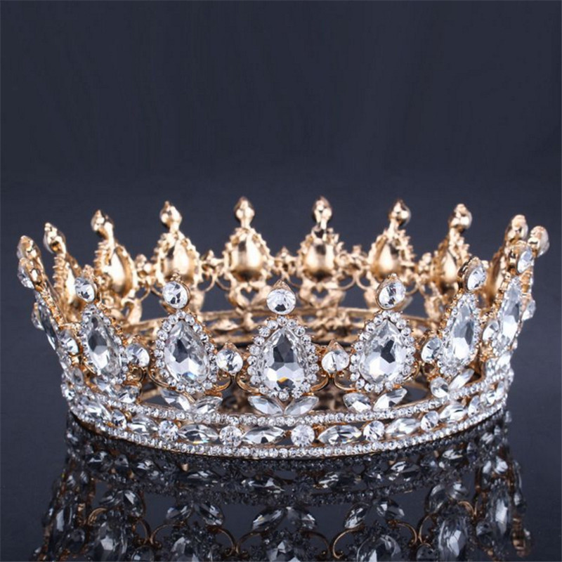 Kadınlar Için Vintage Barok Kraliçe Kral Gelin Tiara Taç Headdress Balo Gelin Düğün Tiaras ve Taçlar Saç Takı Aksesuarları
