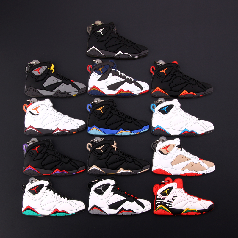 New Mini Jordan 7 Keychain Shoe Men Wome Kids Key Ring Gift Basketball Sneaker Key Chain Key Holder Porte Clef