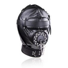 купить Bondage Restraint Sex Toys Headgear With Gag BDSM Erotic PU Leather Sex Hood Mask Adult Games Sex SM Mask For Couples дешево
