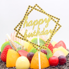 1pc Shiny Crystal Cake Toppers Happy Birthday Geometric Square Gold Silver Paper Board Flag Party Decor
