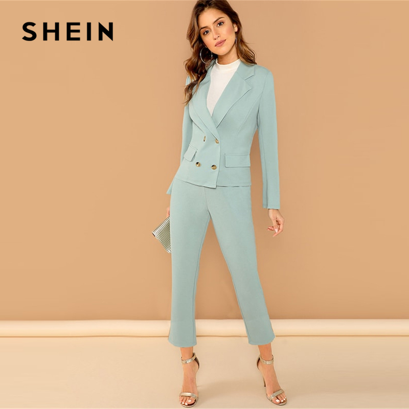SHEIN Turquoise Pocket Front Double Breasted Notch Long Sleeve Coat Pants Set Women Autumn Elegant Workwear Twopiece