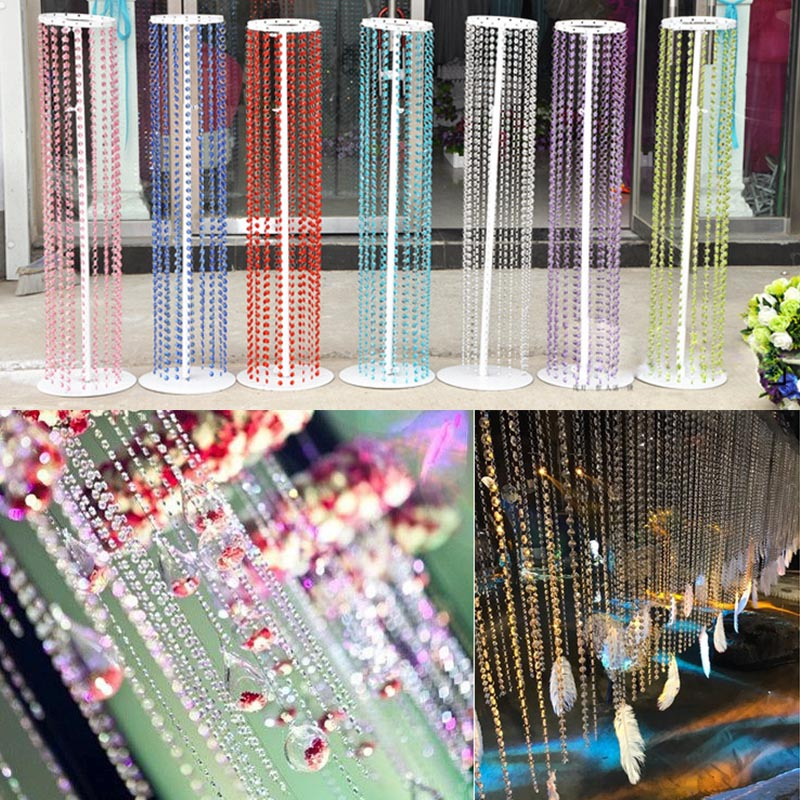 1m Crystal Colorful Clear Acrylic Octagon Beads Pendant Garland Chandelier DIY Hanging Curtain Wedding Party Decoration