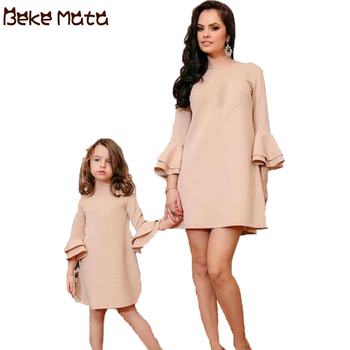 BEKE MATA Mother Daughter Dresses Spring Family Look Matching Mommy And Me Clothes Long Sleeve Elegant Mom Girl Clothing Outfits