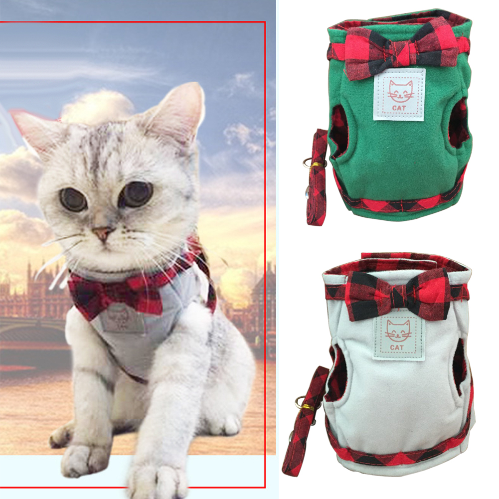 Pet Cat Harness With Leash British Style Jacket Walking Training Hand Grip Straps Leash Traction Belt Drop Shipping