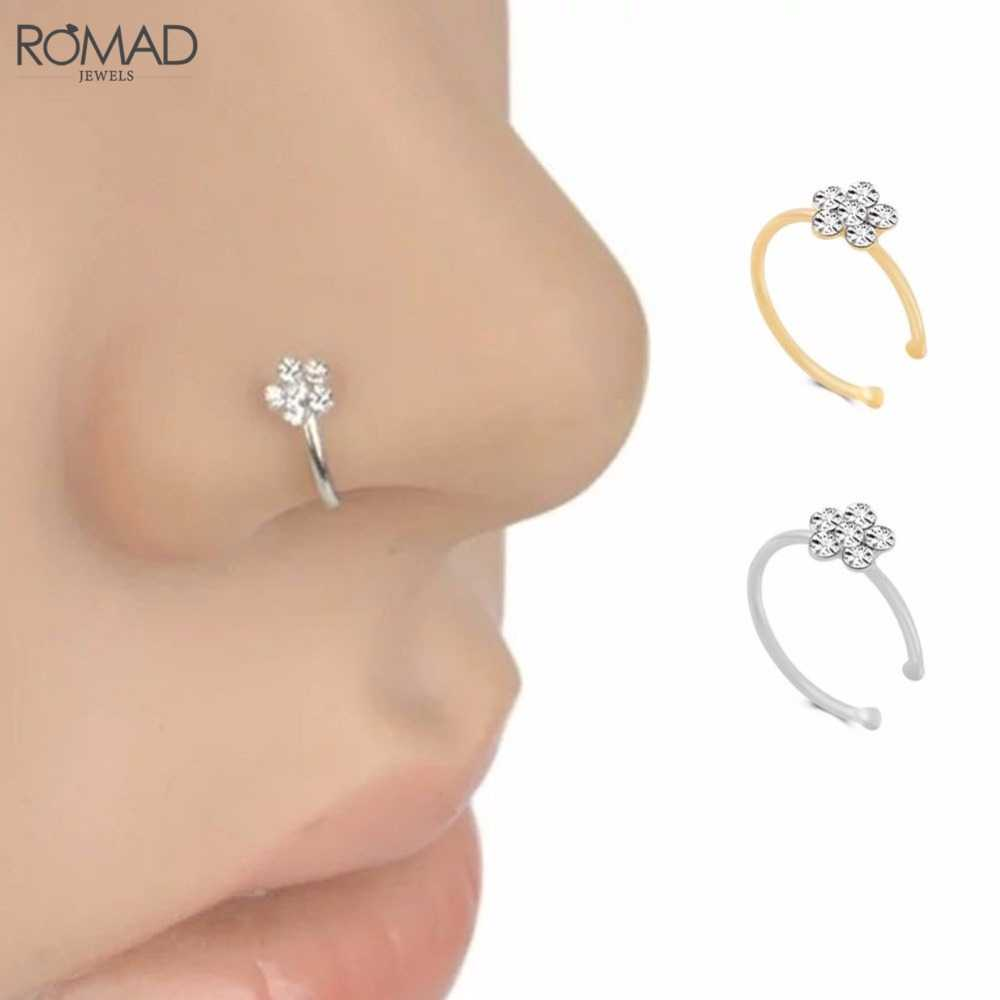 Romad Fashion Crystal Nose Ring Indian Flower Nose Stud Hoop