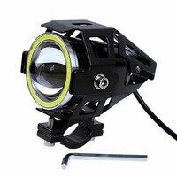 U7 125 Watt Motorrad Led-scheinwerfer Wasserdichte Super Helle Licht Lampe 1500LM Teufel Angel Eye Qualität Scheinwerfer # iCarmo