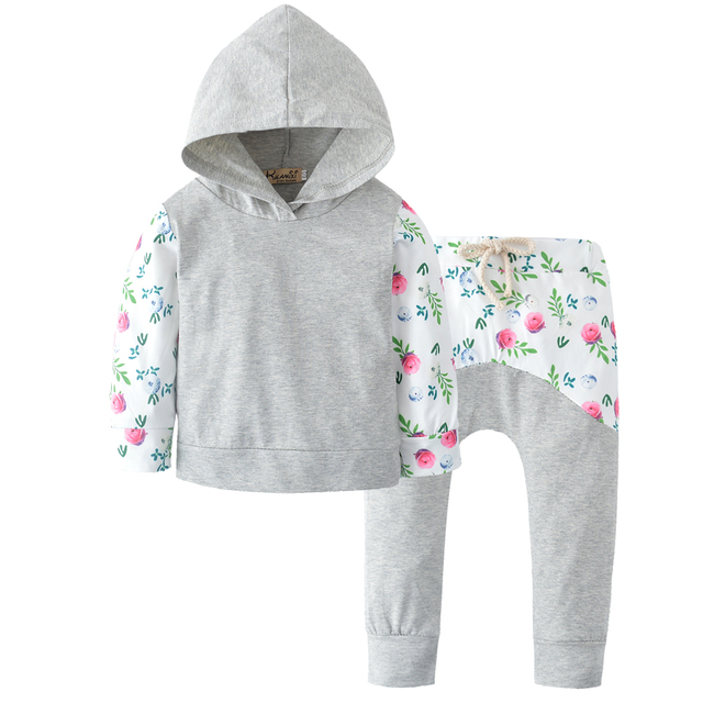 4447f116c393 2018 Autumn and winterNewborn Baby Girl Clothes Long sleeves Flower ...