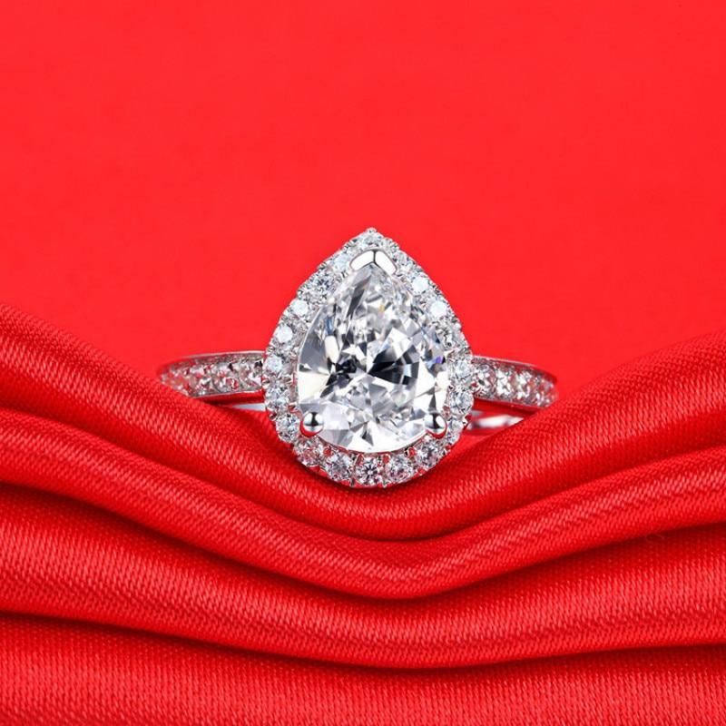 3 Ct Carats Goutte D'eau De Luxe Anneaux pour Femmes 925 Sterling Argent AAAAA Cubique Zircon Sona Cz or blanc couleur anneaux de mariage - 3