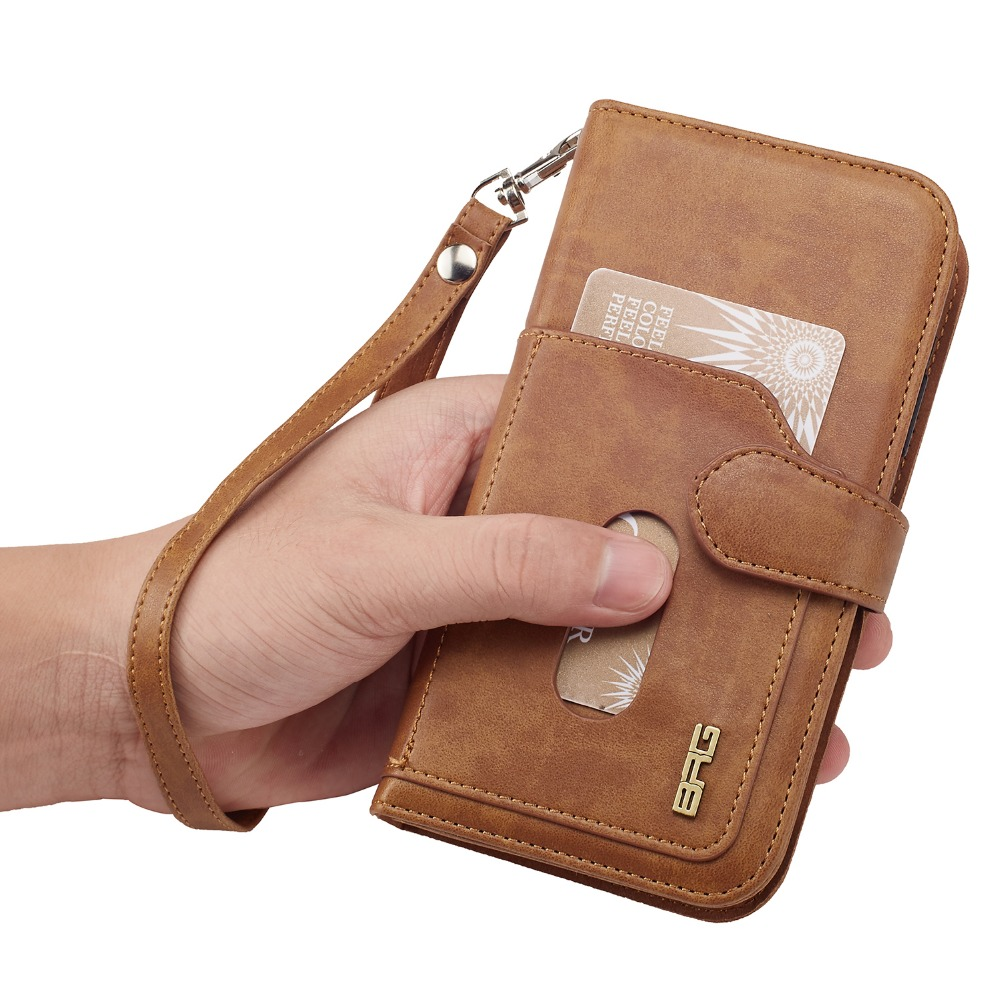 For IphoneX 10 Ten Case BRG 2 In 1 Magnetic Multifunction PU Leather Wallet Case for Iphone X Phone Case Purse With Stand Bag
