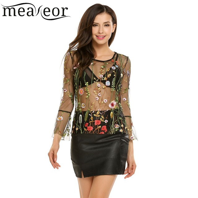 46d9207bc63 Meaneor Floral Embroidery Mesh Tulle T-Shirt Top Flare Long Sleeve  See-through Sexy Women Camisa Transparent 2018 Blusas